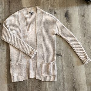 Express Cotton Blend Soft Tan Open Cardigan